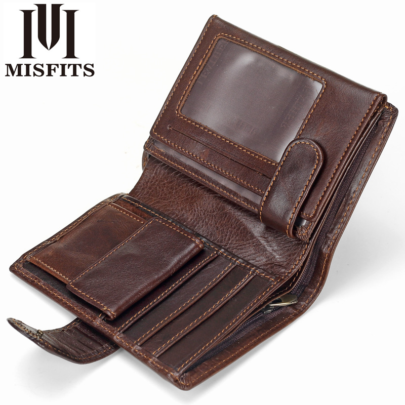 MISFITS Luxury Brand Men Wallets Genuine Leather Short Coin Purse Hasp Wallet For Male Portomonee With Card Holder Photo Holder
