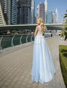 Image 2 - אשליה סקופ קו אור כחול חתונת שמלות עם שנהב אפליקציות כפתורי גב אורך כלה שמלות Vestido Noiva Boho