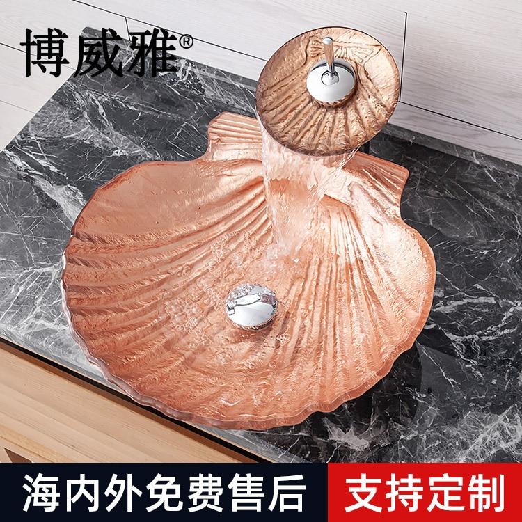 Bo weiya sanitaires en verre trempé Table bassin hôtel lavabo ménage évier corail Art lavabo