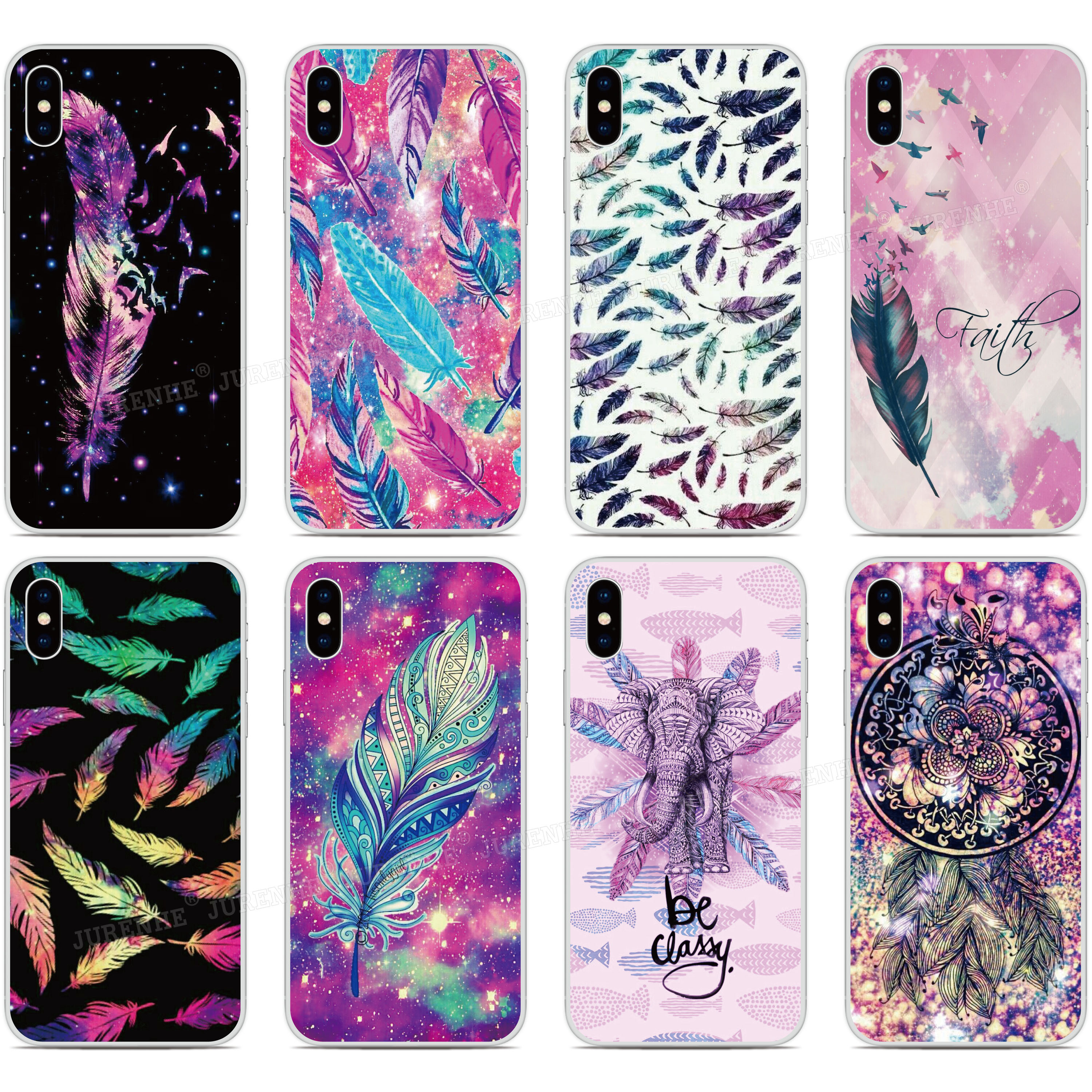 Colorful Feather Funda Phone Case For BQ Aquaris M5 E5 E6 M5.5 X5 Plus For Blackberry Z10 Z30 Q10 For Nokia Lumia 520 930 Cover(China)