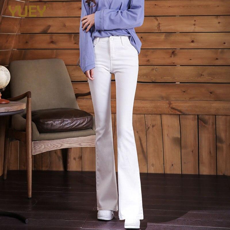 Новый стиль, женские красивые узкие белые расклешенные брюки, высокая талия, Стрейчевые тонкие черные брюки, женские S до 3XL, лидер продаж, Прямая поставка|Джинсы|   | АлиЭкспресс