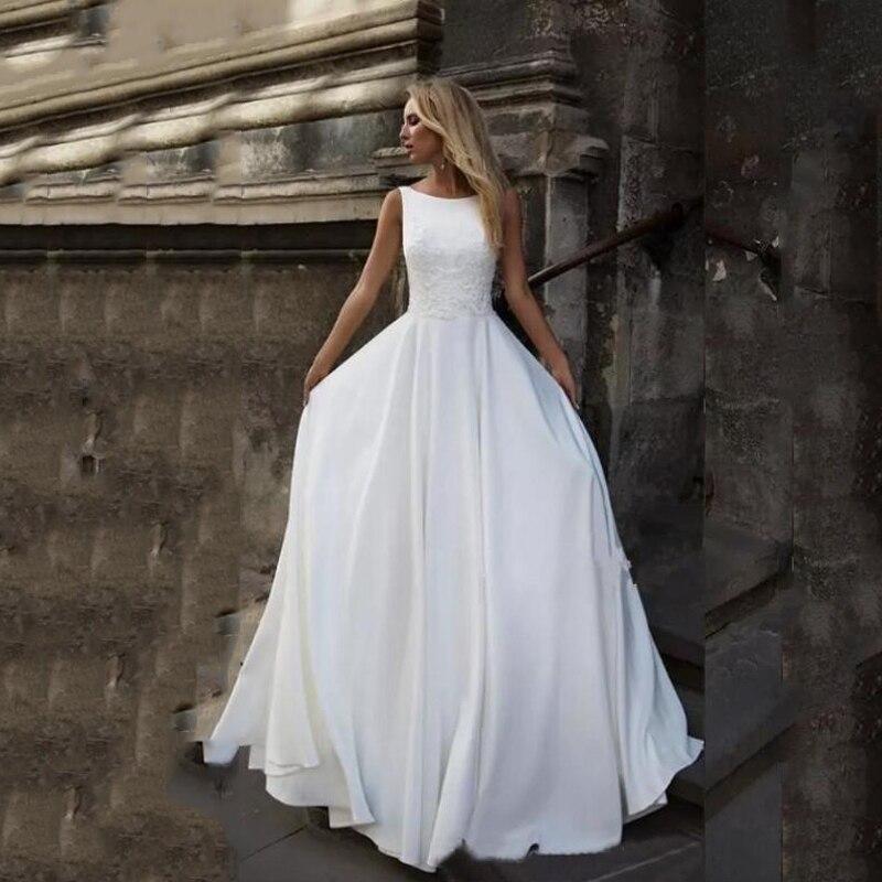 Lorie Boho Lace Wedding Dresses V Back Satin Bride Dresses Vestido De Novia Custom Made Hot Wedding Gowns