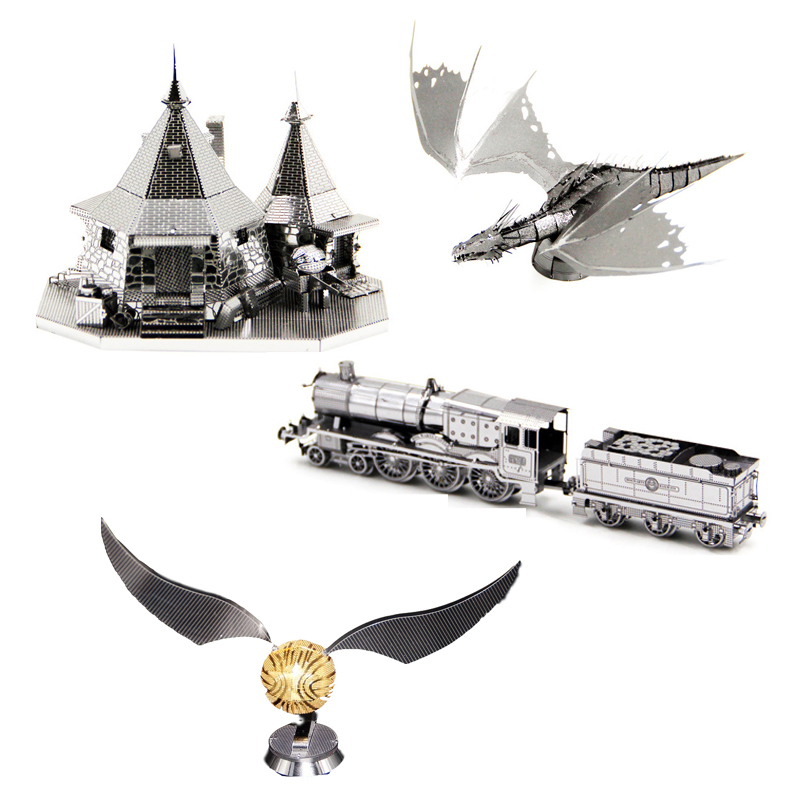 Magic Rubeus Hagrid Hut Dragon 3D Metal Puzzle Model Kits DIY Laser Cut Assemble Jigsaw Toy GIFT For Children