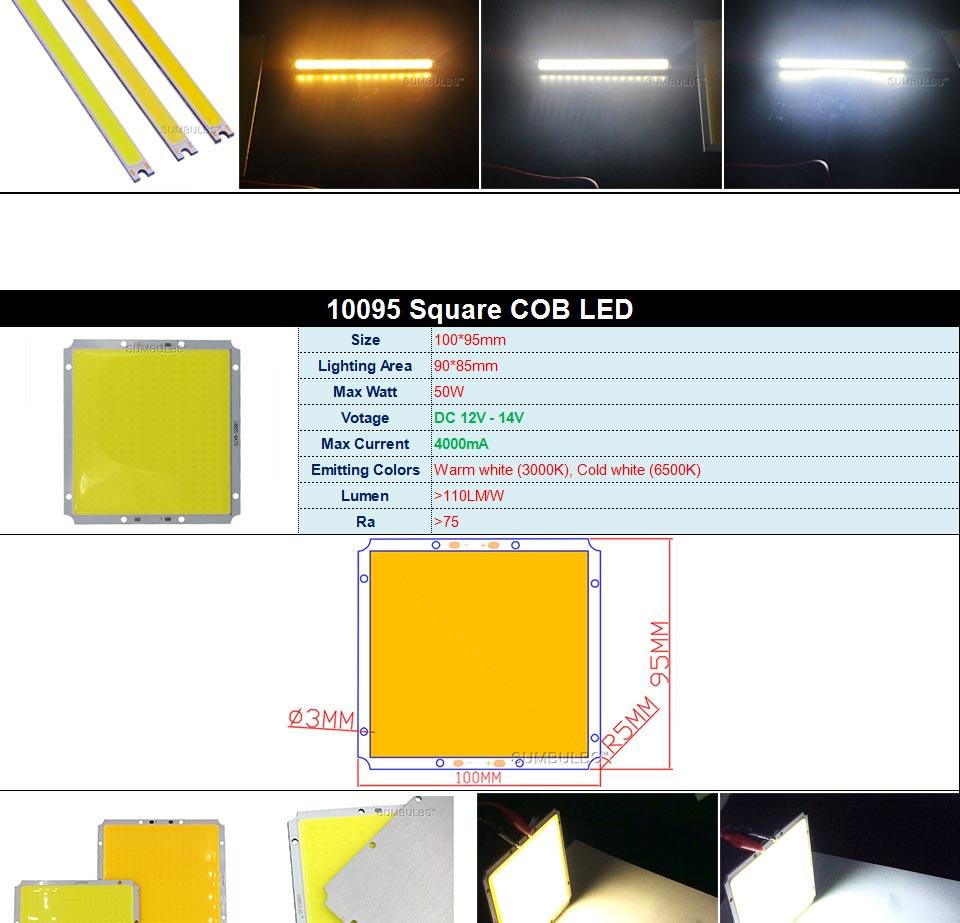 DC12V COB LED Strip Light Source 5W 10W 20W 50W 200W 300W LED Bulb White Blue Red Flip Chip COB Lamp DIY House Car Lighting 12V (4)