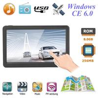 Portable 8G+256MB 7 inch HD Capacitive Touch Screen Car GPS Navigation Map Auto Navigator FM Transmitter MP4 Player