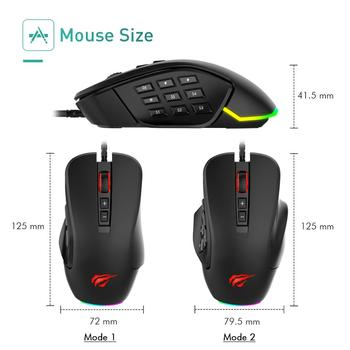 Havit Gaming Mouse 10000 DPI Wired Mice with 14 Programmable Buttons Interchangeable Side Plates , 2 Replaceable Right Plates 5