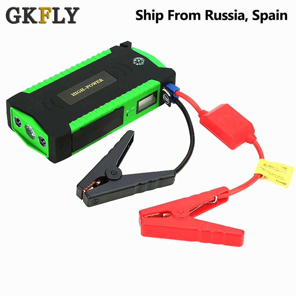 GKFLY High Capacity Starting Device Booster 600A 12V Car Jump Starter Power Bank Car Starter For Car Battery Charger Buster LED