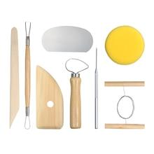 8 шт./компл. высокое качество инструменты для гончарного дела комплект Керамика Глина формовочная инструменты с тонкими ремешками из дерева и металлическая губка Материал инструменты