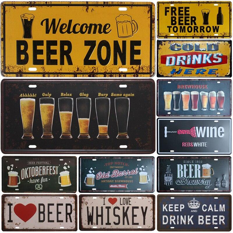 Добро пожаловать пивная зона знаки холодного пива входная дверь бар паб кафе Настенный декор Ретро металлический жестяной знак поделки дек...