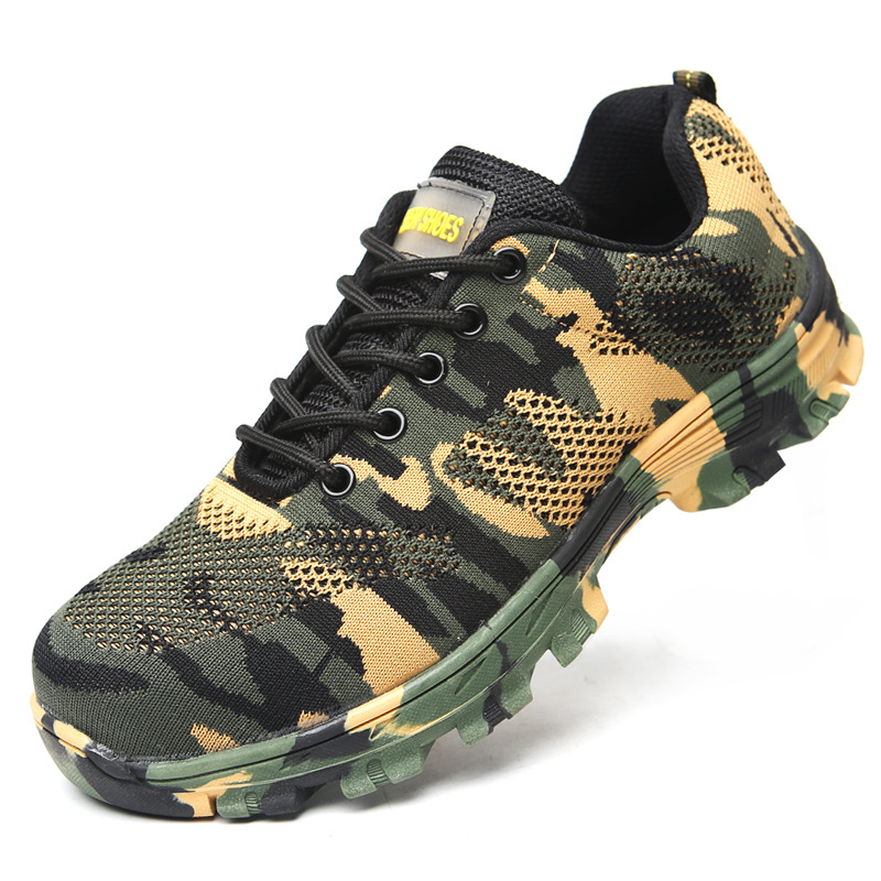 Camouflage Fly Woven Safety Shoes Breathable Steel Head Smashing Anti Puncture Safe Work-Style Cross Border For Special Offer Me