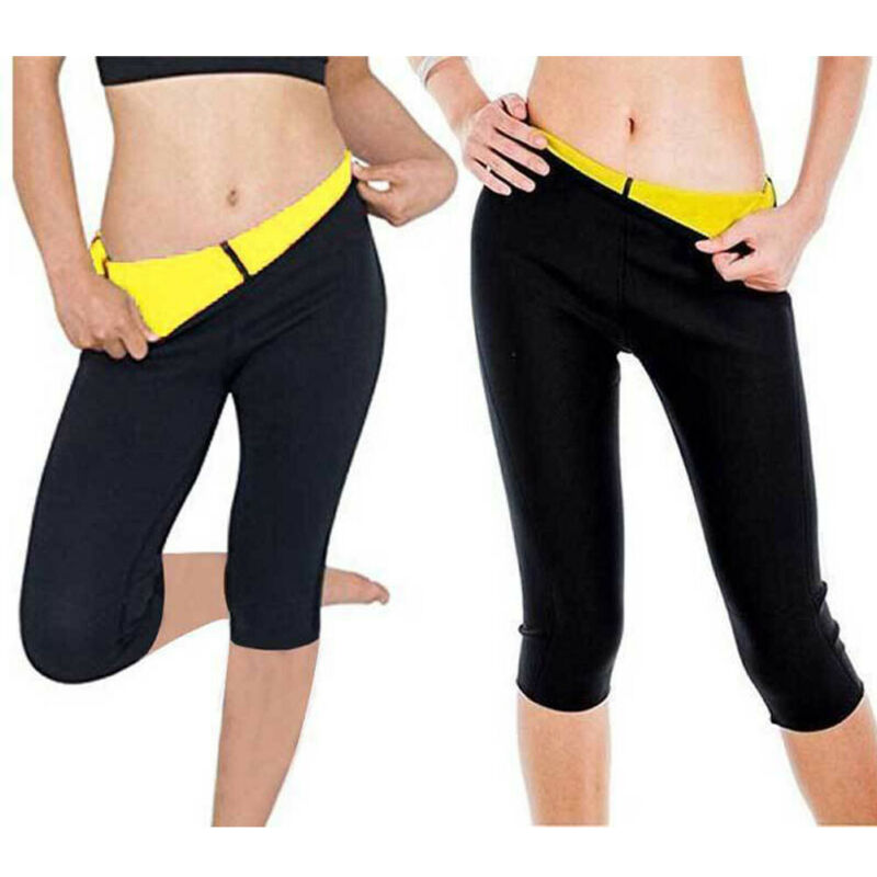 2019 Brand New Ladies Women Shapers Yellow Black Patch Neoprene Slimming Sweating Sauna Suit Waist Elastic Sport Pants