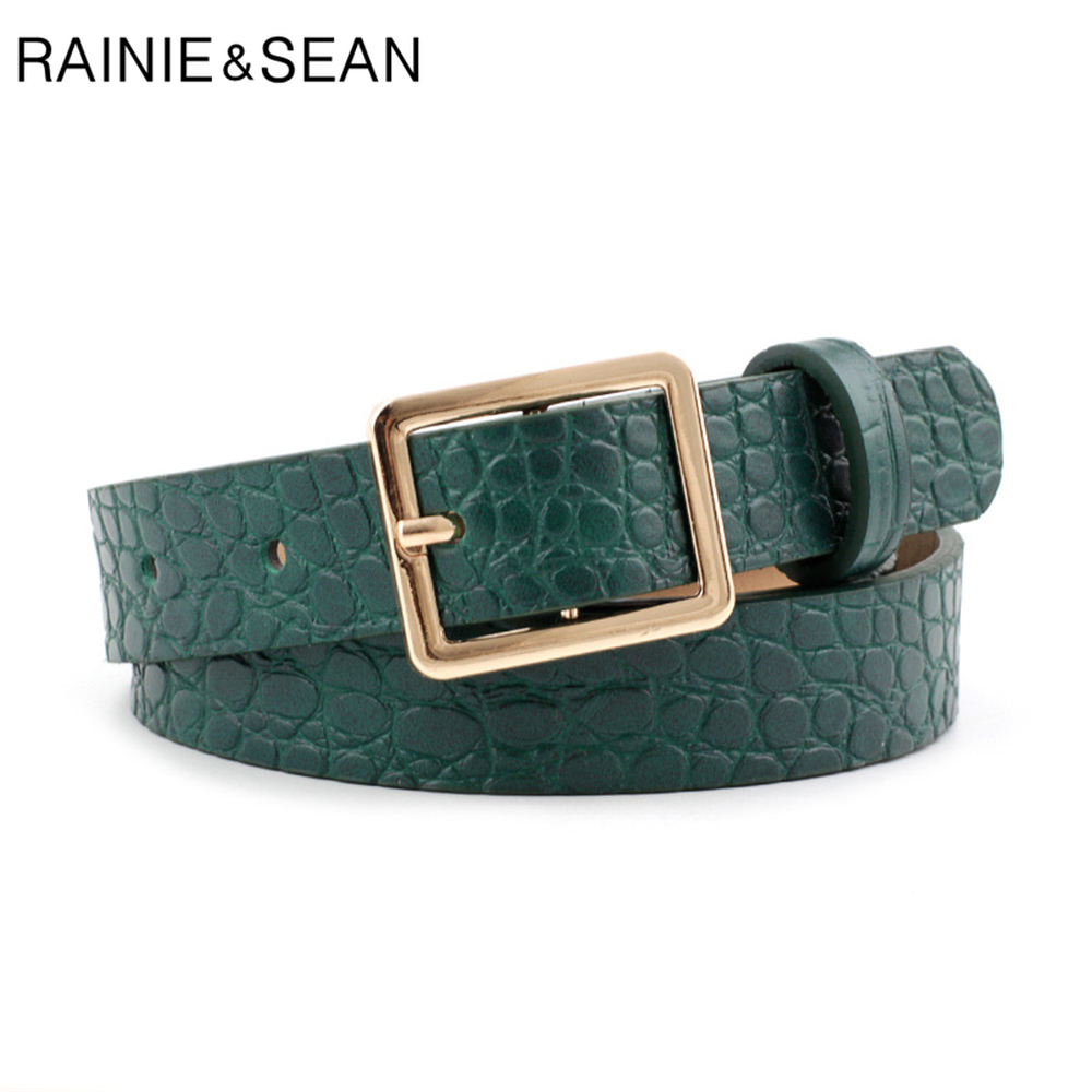 RAINIE SEAN Crocodile Print Belts For Women Fashion Pin Buckle Waist Belts Green Yellow Black Camel Ladies Belt