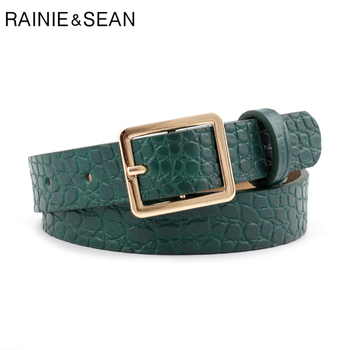 RAINIE SEAN Crocodile Print Belts for Women Fashion Pin Buckle Waist Belts Green Yellow Black Camel Ladies Belt crocodile crocodile cr215f yellow