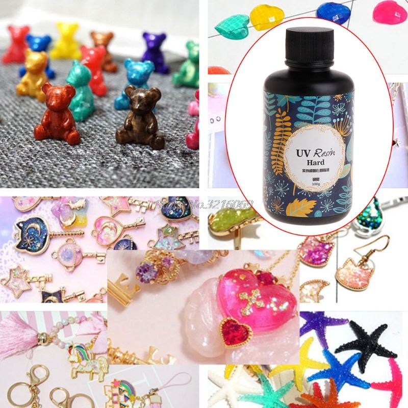 UV Resin DIY Epoxy Resin Handmade Jewelry Making Curing Hard Glue Quick Dry Safe Non Toxic Transparent Solidify 100g 2