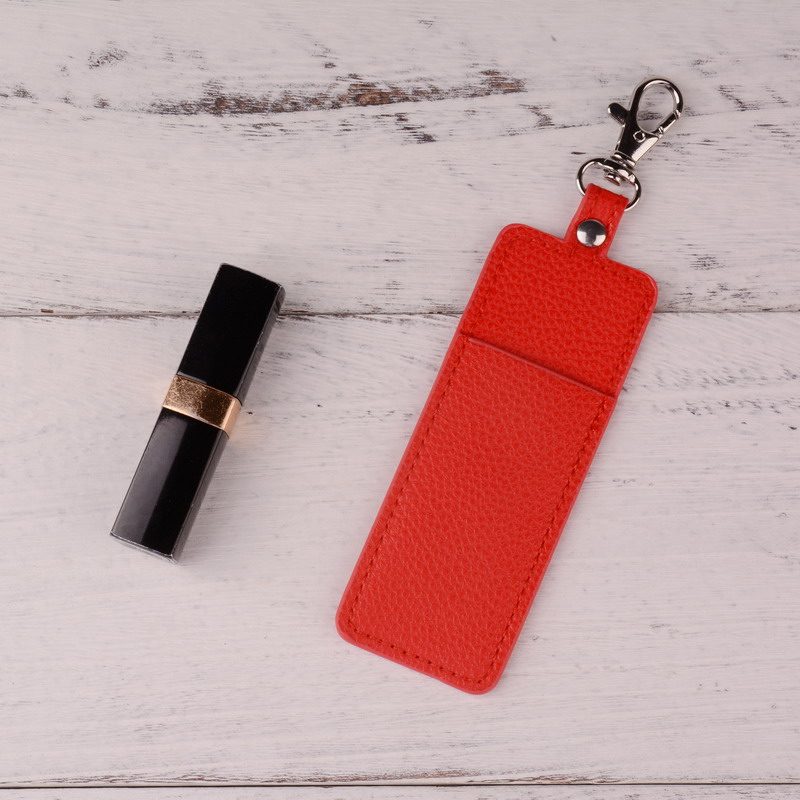 New Fashion Lipstick bag PU Leather Keychain Key buckle Accessory Key Chain Gifts Accessories Lip Balm Lipsticks Keyrings DZ0154