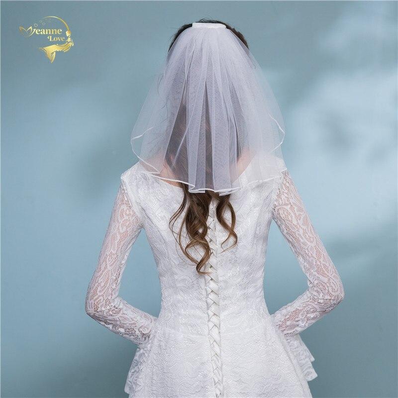 Shoulder Length Veil Short Mini Bridal Veils For Weddings White Beige Cheap Simple Wedding Veils Tulle Velo De Novia Corto