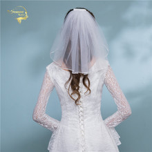Shoulder Length Veil Short Mini Bridal Veils For Weddings White Beige Cheap Simple Wedding Tulle Velo De Novia Corto