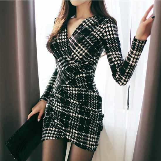 Женские сексуальные мини платья осень 2019 офисные женские серьги-капельки v-образный вырез с длинным рукавом Бандажное облегающее платье-футляр Вечерние платья Vestido