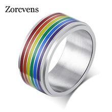 ZORCVENS Regenbogen Silber Farbe Edelstahl, Verlobung, Hochzeit Ringe für Männer Trendy Band Lesben & Homosexuell Paar Ringe Schmuck