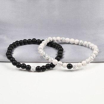 Hot 2pcs/set 7 Style Couples Distance Bracelet Classic Natural Stone White And Black Yin Yang Yoga Beaded Bracelet for Men Women 2