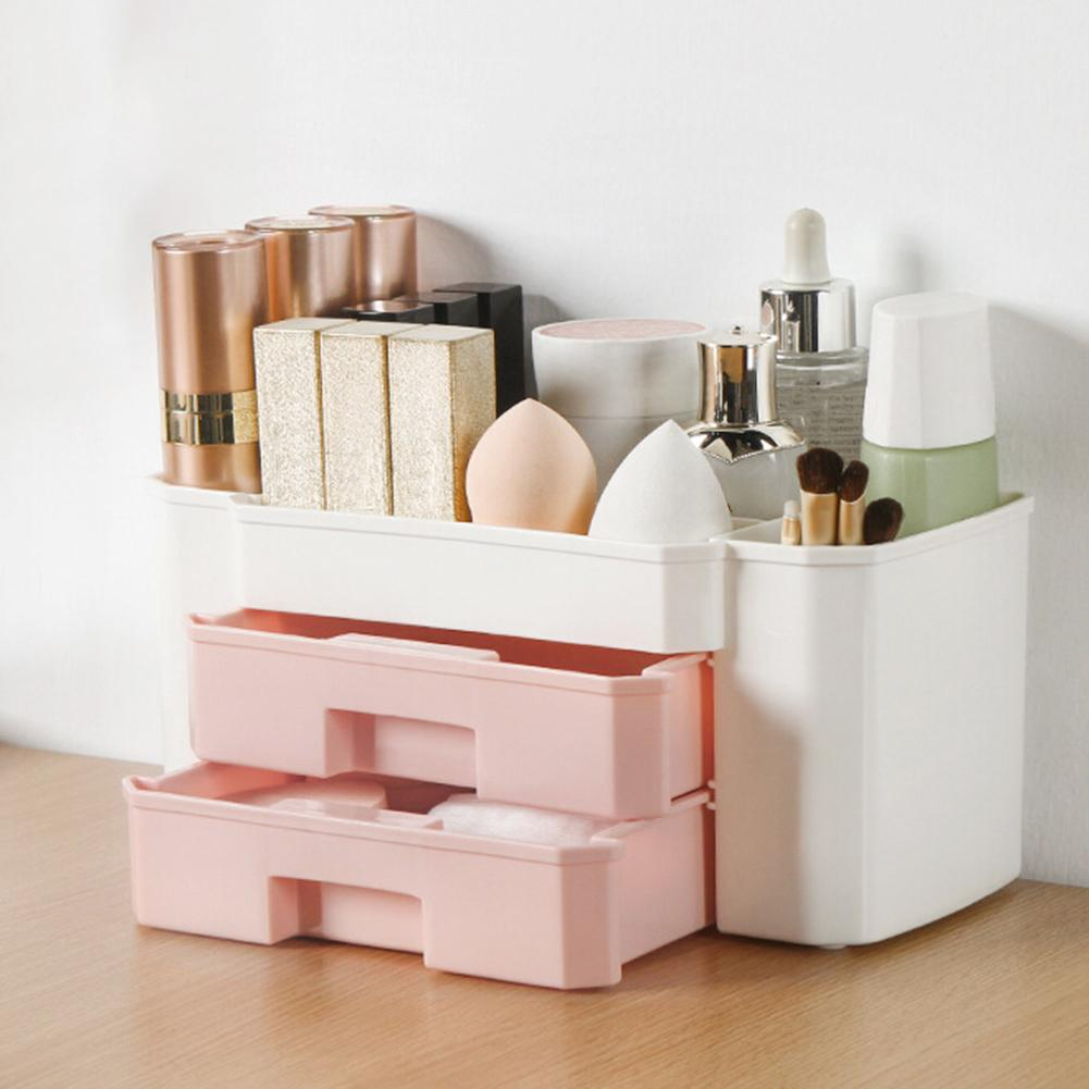Desktop Makeup Organizer Cosmetic Storage Box Drawer Case Brush Lipstick Holder Beautiful Sleek Design Looks Great On Any Desk