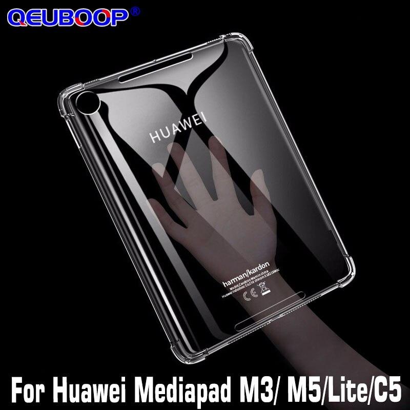 Прозрачный силиконовый чехол с защитой от падения для Huawei MediaPad M5 Lite Pro 10,8 8,4 M3 Lite 10,1 8,0, чехол из ТПУ для MediaPad C5 8,0 10,1