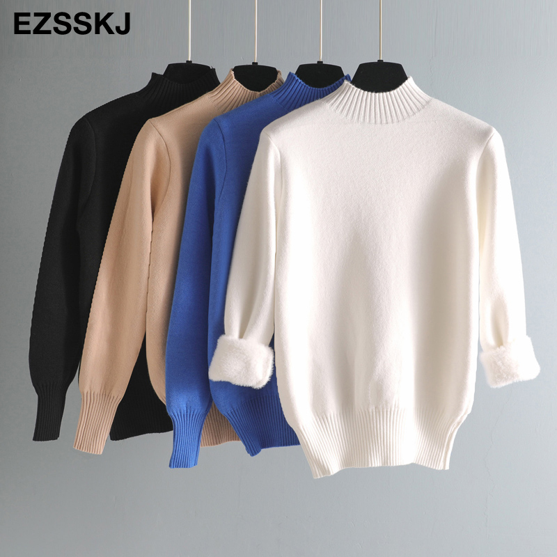 2020 Autumn winter cashmere basic warm Sweater velvet Pullovers Women female fur thick Turtleneck sweater knit Jumpers top