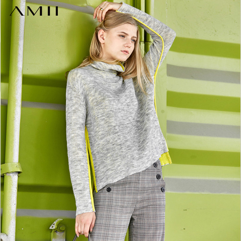 Amii Sweet Panelled Sweater Women Spring  New Causal Turtleneck Long Sleeve Mohair Knit Pullover Sweater 11840495