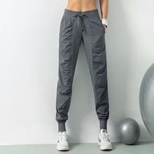 Luobolan Tatting Fabric sznurkiem do biegania Sport biegaczy kobiety szybkie suche sportowe siłownia spodnie dresowe z dwoma boczne kieszenie