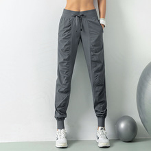 Luobolan Tatting kumaş İpli koşu spor Joggers kadın hızlı kuru atletik spor salonu spor Sweatpants İki yan cepli