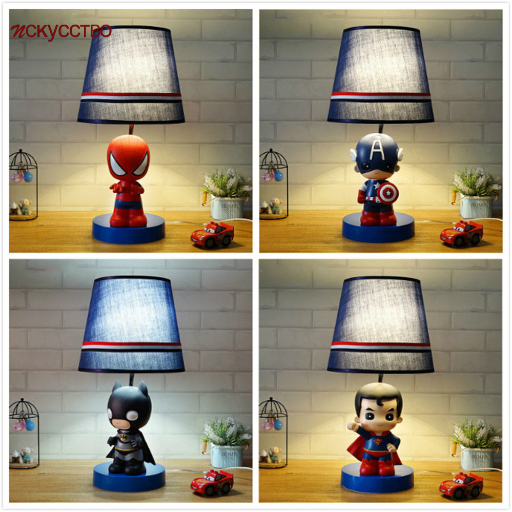 Nordic spider bat super hero Table Lamp Children'S Room Cartoon Bedside decoration Kids Study Captain America Reading Desk Light