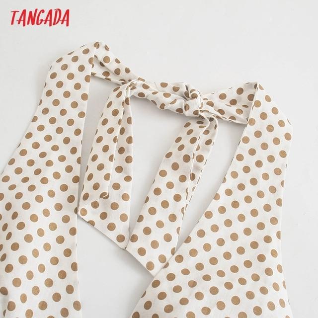 Tangada 2021 Fashion Women Dots Print Halter Dress Sleeveless Backless Buttons Female Casual Dress 5Z241 2