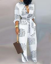 цена на Letter Print Casual Knotted Jumpsuit Women Overalls Deep V Neck Office Long Sleeves Jumpsuit