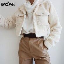 Aproms-Chaqueta de camionero de lana blanca para mujer, abrigo CORTO BÁSICO DE cintura alta con bolsillos delanteros, chaquetas cortas de invierno para mujer 2020