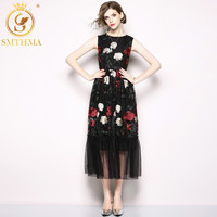 SMTHMA HIGH QUALITY Fashion 2019 Designer Runway Dress Women's Sleeveles Stunning Embroidery Gauze Tank Chic Maxi Long Dress
