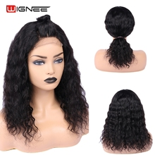 Wignee 4x4 Lace Closure Water Wave Human Hair Wigs for Women Pre Plucked Hairline Remy India Frontal Curly