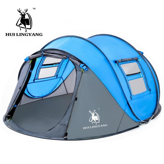 كبير رمي خيمة في الهواء الطلق 3 4 6 أشخاص التلقائي سرعة مفتوحة رمي المنبثقة يندبروف مقاوم للماء شاطئ التخييم خيمة مساحة كبيرة