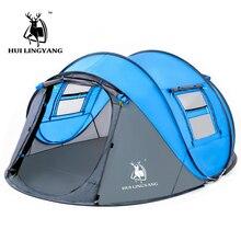 Grande tente de camping pour 3 à 4 à 6 personnes, en plein air, ouverture automatique, pop up, étanche au vent, grand espace