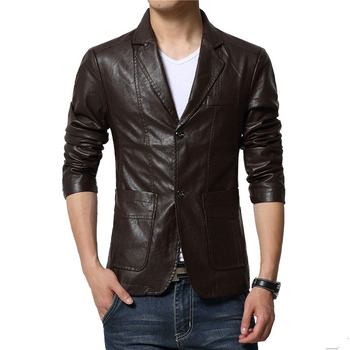 Leather Jacket Men Casual Suit Mens Clothes Spring Coat Stand Collar Leather Mens Coats Autumn Clothes Motorcycle Jackets Male