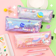 Cute Galaxy Pencil Bags Laser Colorful Transparent Jelly Pencil Bag Fashion Pen Pencil Case School Student Supply Pencilcase watermelon pattern jelly pencil case