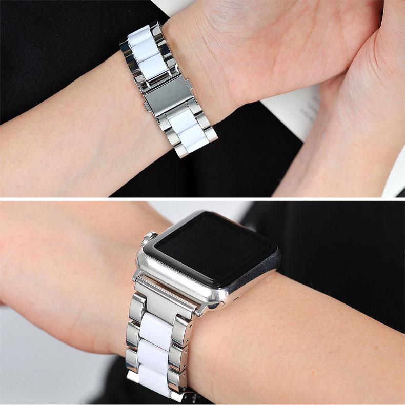 Bracelet en acier inoxydable et céramique pour apple watch series 5/4/3/2/1 iwatch band 44mm 40mm 42mm 38mm bracelet montre accessoires