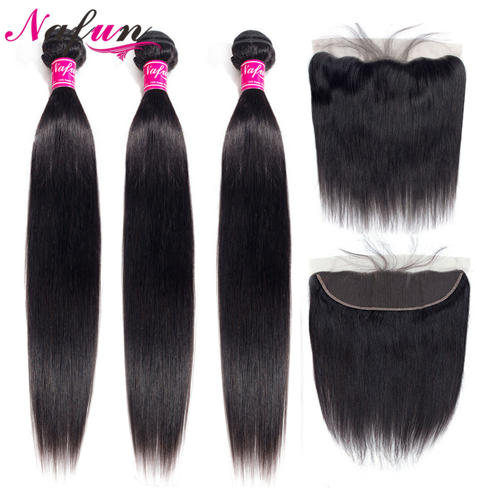 NAFUN Peruvian Straight Hair Bundles With Lace Frontal Human Hair Bundles With Frontal Non-Remy Hair Extensions Middle Ratio