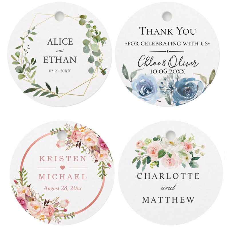 100/120 Pieces , Round, Personalized Wedding Tags, Labels, Candy Favors Tags, Customized, Birthday, Baptism, Your Photo