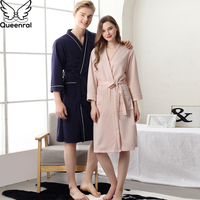 Queenral Robe Lovers Couple Nightgown Sleepwear Bath Gown Plus Size Dressing Gown M XL XXXL Sexy Lace Male/Female Nightgown
