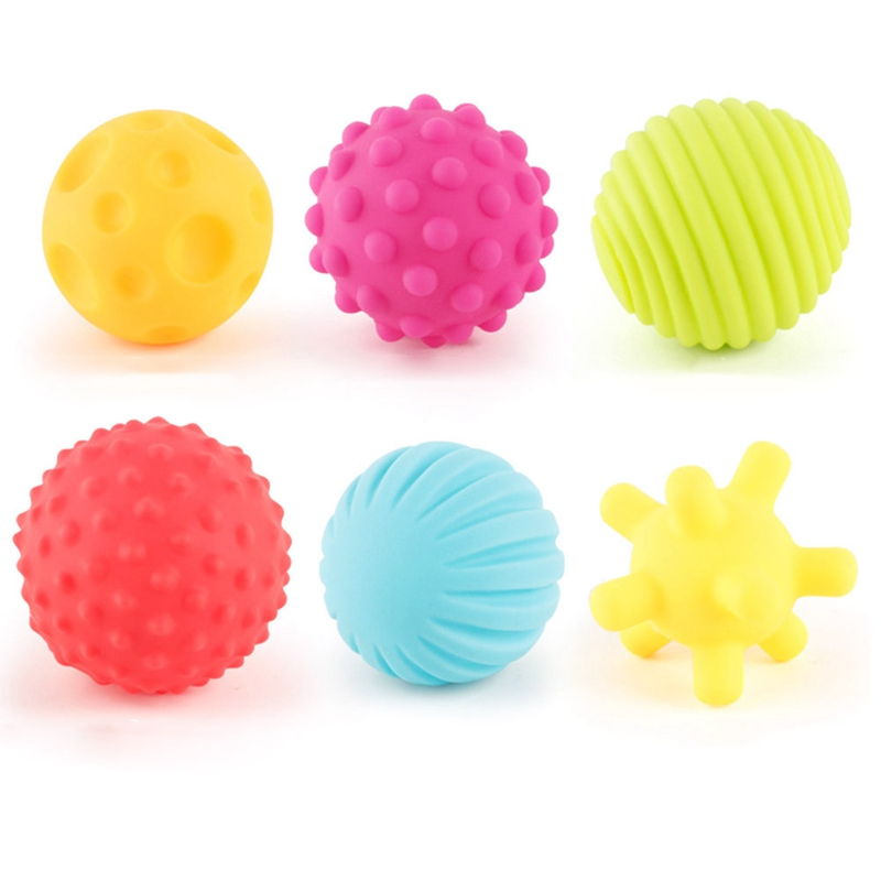 6Pcs/Set Baby Soft Toy Ball Rubber Hand Grip Perception Sensory Touch Puzzle Fitness Toy Newborn Rattle Toys For Baby 0-12M