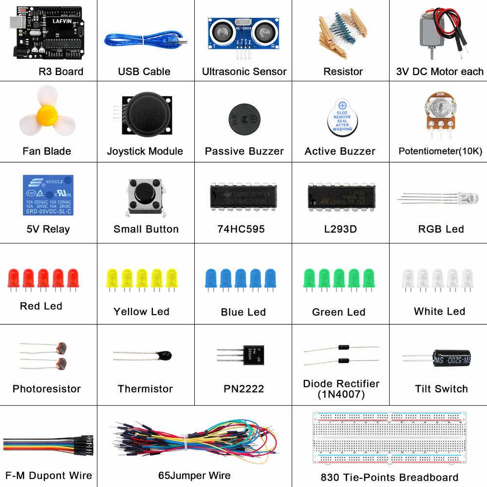 Le Kit de démarrage de base LAFVIN comprend un capteur à ultrasons, un fil de raccordement pour Arduino pour UNO avec tutoriel