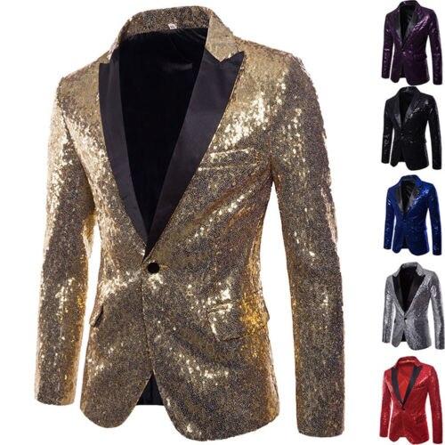 2019 NEW Men's Blazer Sequins Luxury Clubs Wedding Party Tuxedo Dinner Formal Suit Jackets Stage Lapel Mens Suit 2XL