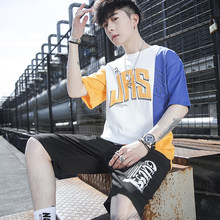 Hip Summer Sportswear Tracksuits Hop Loose Jogger Suits for Men Cotton Patchwork T-shirt+Shorts Sets(China)
