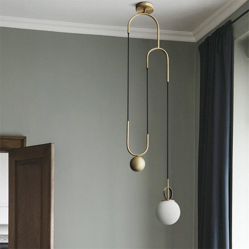 Скандинавская промышленная стеклянная подвеска Сфера, Современная дизайнерская Подвесная лампа, светодиодный Декор для ресторана, подвесной светильник - 2