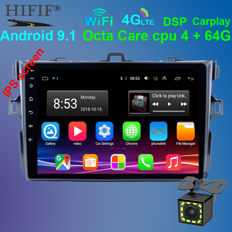 Car Radio Android 9.1 Multimedia Player For <font><b>Toyota</b></font> <font><b>Corolla</b></font> <font><b>E140/150</b></font> 2006 2007-2009 2010 2011 2012 2013 WIFI GPS Navigation image